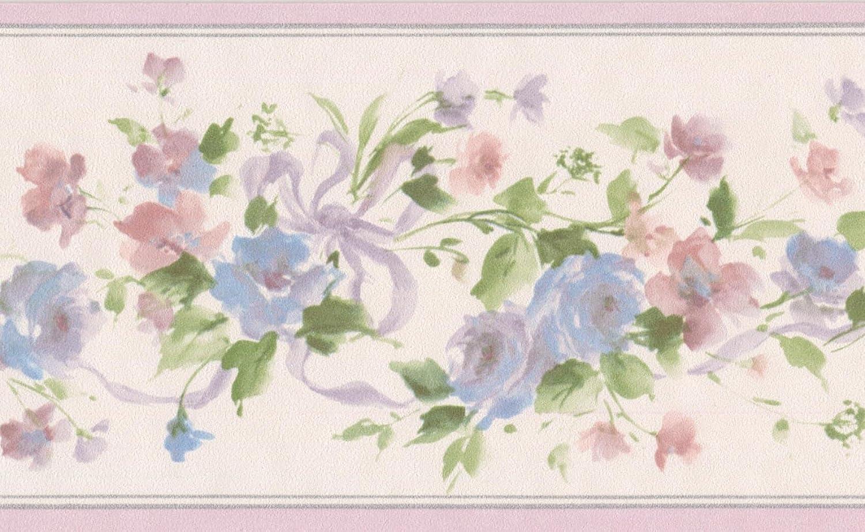 Blue Pink Flowers On Green Vine Floral Wallpaper Border Retro