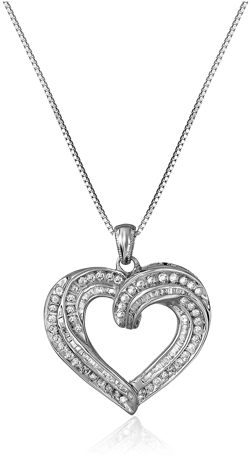 Amazon sterling silver and diamond heart pendant necklace 1 amazon sterling silver and diamond heart pendant necklace 1 cttw i j color i3 clarity 18 jewelry mozeypictures Choice Image