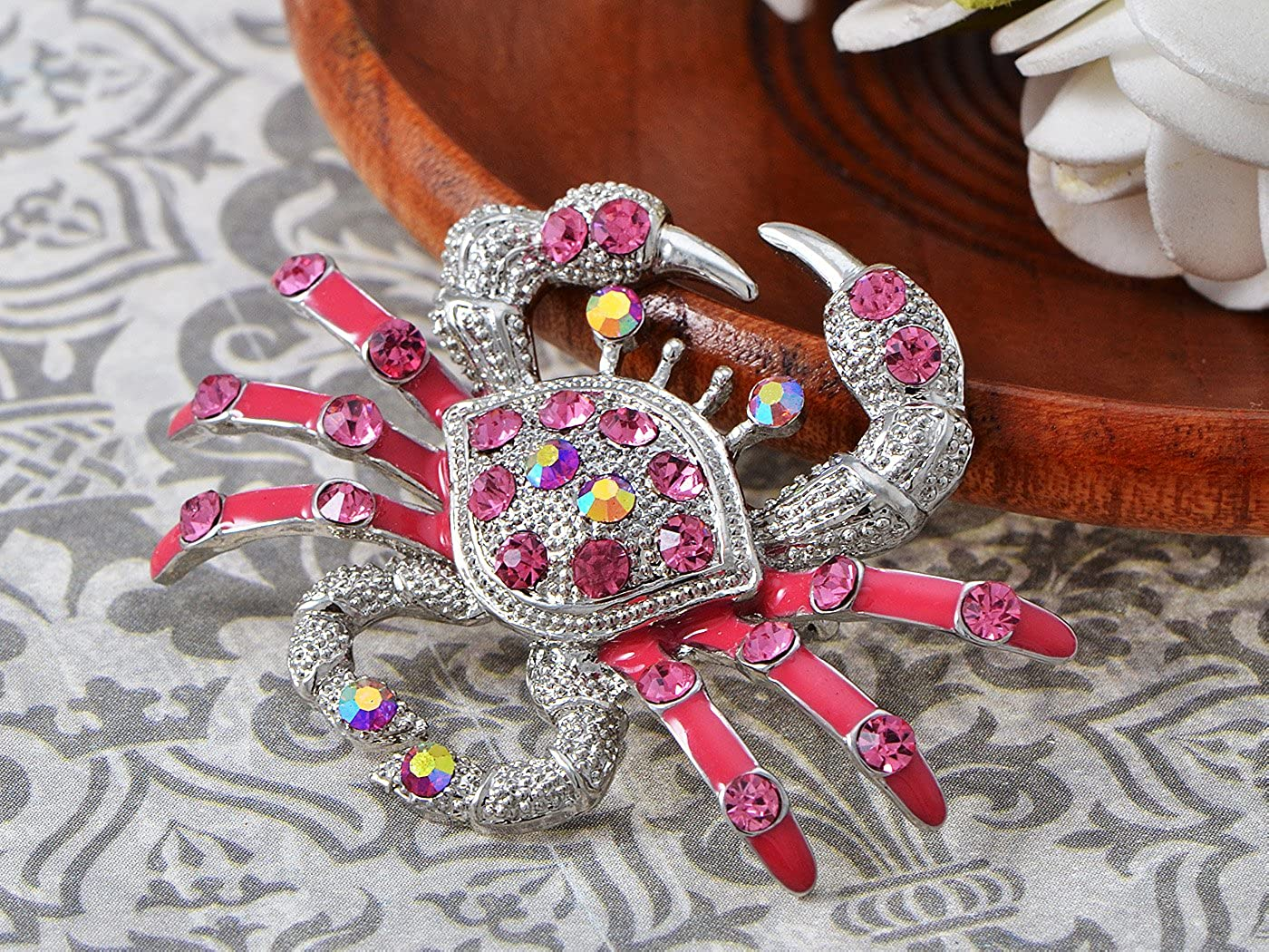 Alilang Rose Pink Crystal Rhinestone Pink Enamel Crab Crustaceans Silvery Tone Pin Brooch