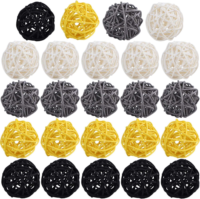STMK 24 Pcs 2 Inch Rattan Balls Decorations, Wicker Balls Decorative for Home Decor DIY Vase Bowl Filler Ornament Baby Room Nursery Décor Wedding Table Decoration (Black, Grey, Yellow, White)