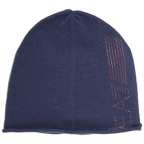 b5a393ff5 Emporio Armani EA7 women's beanie hat train 7 lines evolution blu UK ...