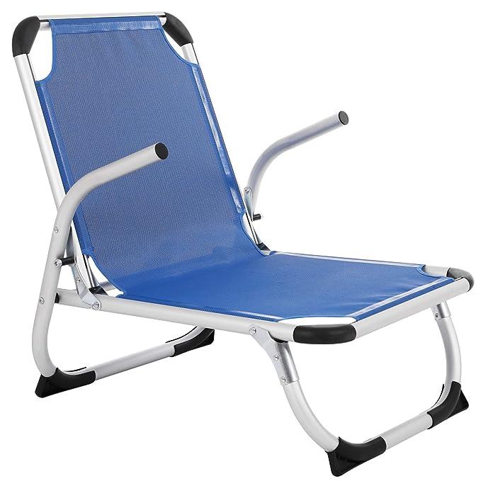 SONGMICS Silla Plegable de Playa Portátil, Aluminio, Ligera, Confortable, Transpirable, Estructura Resistente, Silla de Exterior, Azul GCB64BU
