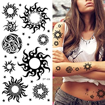 6203279cc Image Unavailable. Image not available for. Color: Supperb Mix Tribal Temporary  Tattoos (Tribal Sun ...