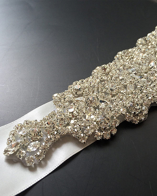 WMlover womens Crystal Rhinestone Bridal Belt Ribbon Wedding Accessories Sashes34
