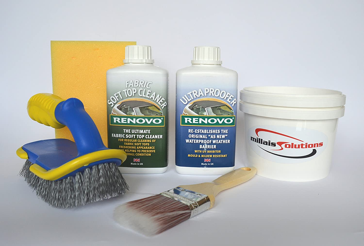 Renovo Convertible Hood/Soft Top Cleaner and Ultra Proofer Complete Kit with brushes etc by Millaissolutions Ltd
