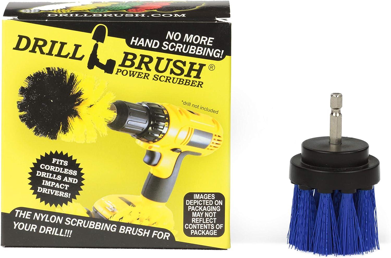 Drillbrush Azul largo de cerdas 2 pulgadas de diámetro mediano Rigidez taladro de fijación del accesorio de cepillo para Taladros y controladores de impacto azul mediano