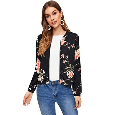 SOLY HUX Women's Floral Print Zip Up Bomber Jacket Casual Coat Outwear: Clothing