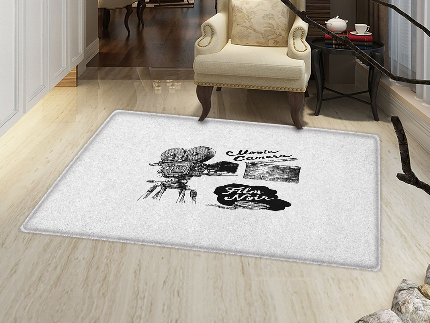 Movie Theater Door Mats Area Rug Antique Movie Camera Hand Drawn Style Art Collection Film Noir Genre Theme Floor mat Bath Mat for tub Black White