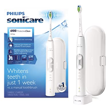 Philips Sonicare ProtectiveClean 6100 Rechargeable Electric Toothbrush, White HX6877/21