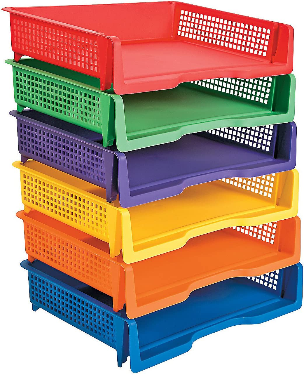 Fun Express Stackable Plastic Paper Bins - 6 Pieces - Teacher Classroom and Home Educational Organizing Supplies