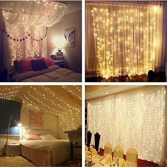 Lichterkettenvorhang 300 LEDs, 8 Modi 3m X 3m IP44 Wasserdichte Sterne LED  Lichterkett, Weihnachtsbeleuchtung