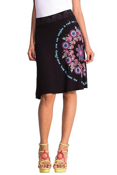Desigual 51F28A5 - Falda para mujer, color negro 2000, talla 38