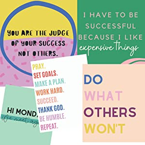 Darling Quote office wall decor, for women SET OF 5 8x10 Girl boss art poster prints. Independent artist designed (UNFRAMED) inspirational quotes wall decor for home female office decor & cubicle art.