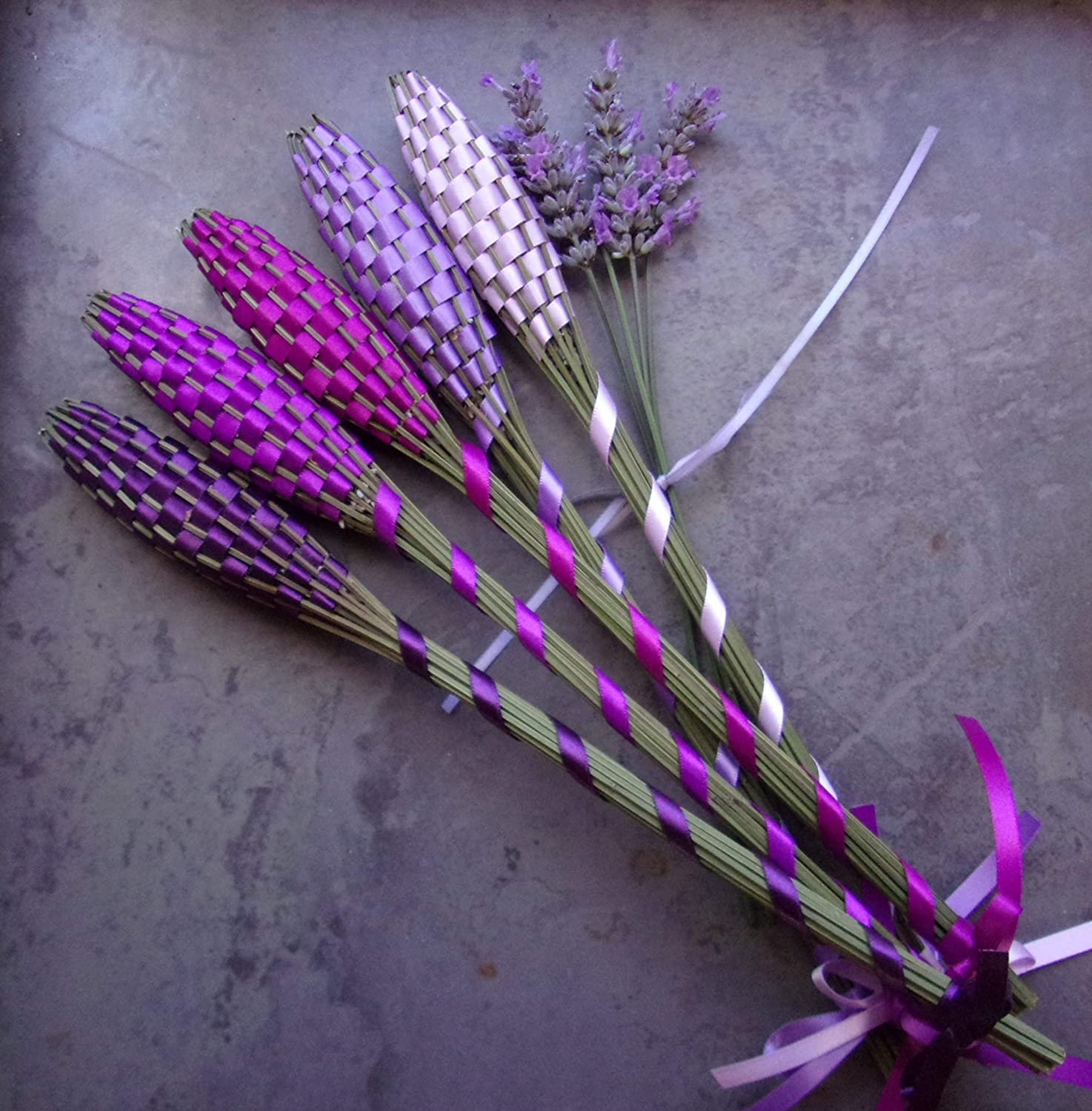 Larger red white and blue freestanding lavender wand