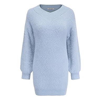 8d4005fdb7d Naturally99 Women s Light Weight Long Sleeve Jersey Dress Style V-Neck  Sweater Top (Light