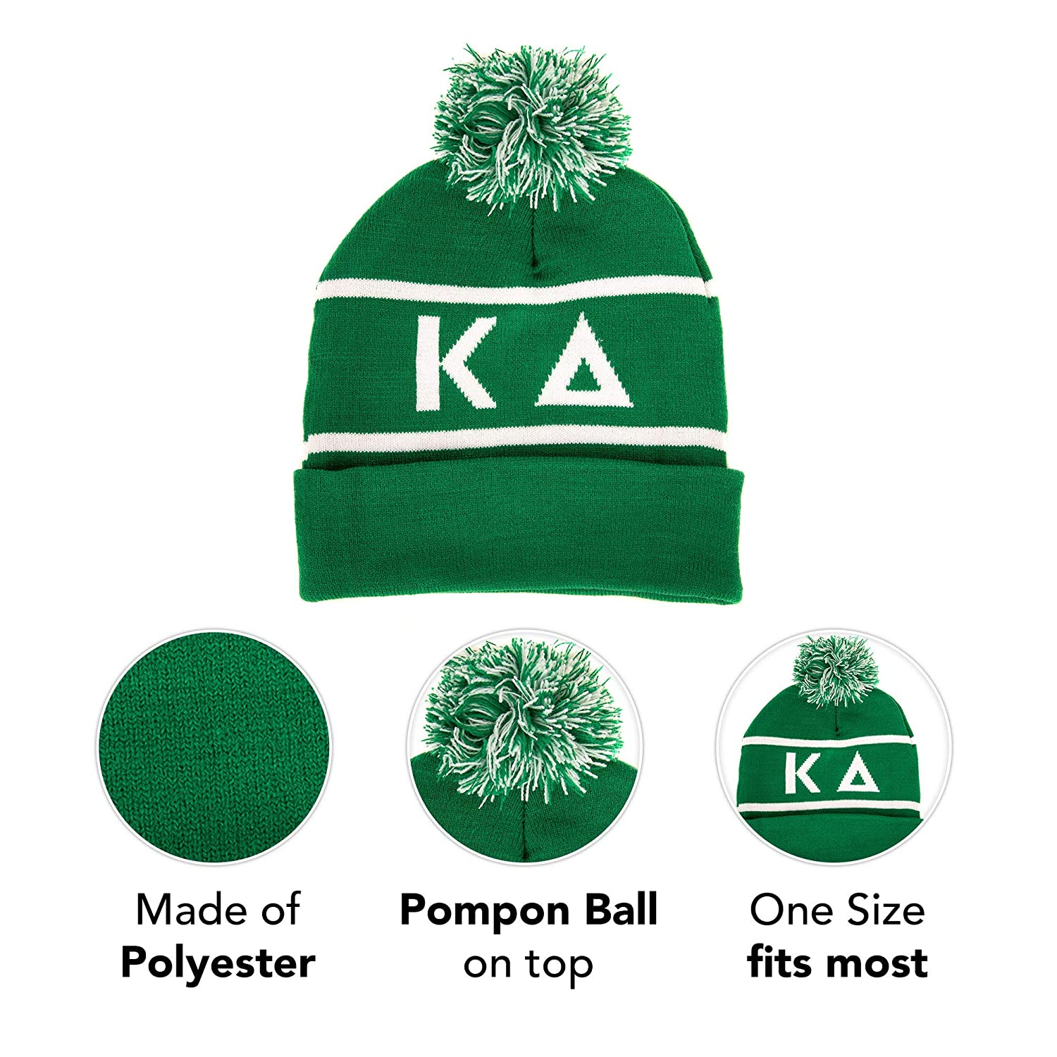 9d441b44a078f Kappa Delta Letter Winter Beanie Hat Greek Cold Weather Winter KD at Amazon  Women s Clothing store