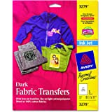 Avery InkJet Iron-On Dark T-Shirt Transfers, White