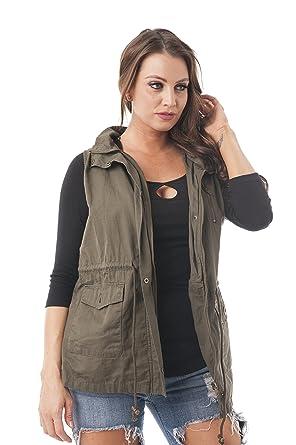 758b3533c79 Khanomak Women s Sleeveless Anorak Vest Hoodie Jacket Plus Size (1XL ...