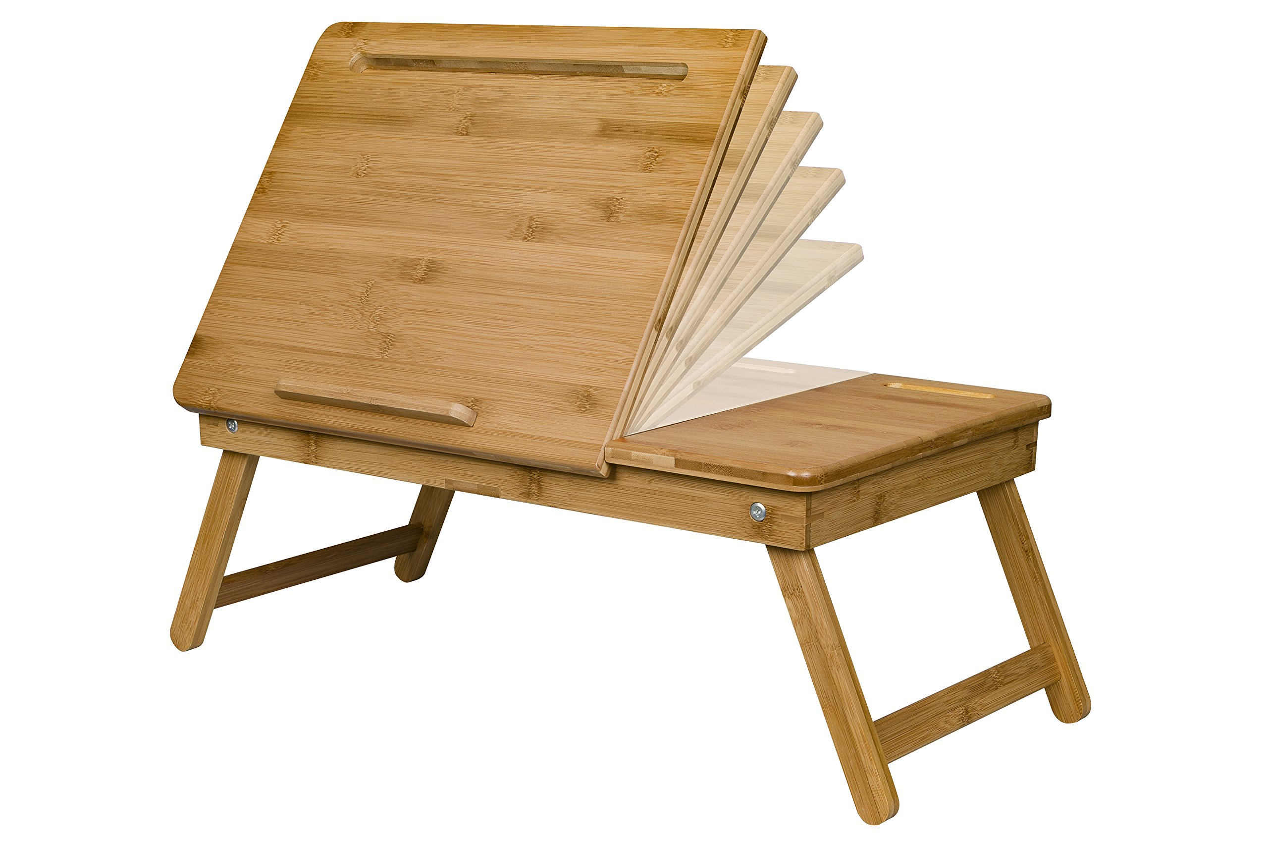 LapGear Safety-Tilt Laptop Table with phone slot - Natural Bamboo (Fits up to 12.9'' Tablet/17.3'' Laptop)