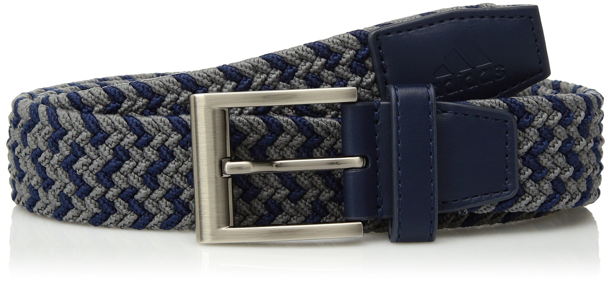 adidas Golf Men's Braided Weave Stretch Belt, Collegiate Navy/Grey Three, Small/Medium