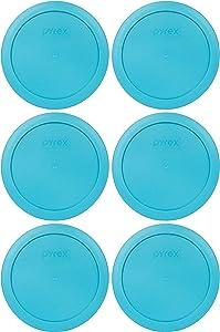 Pyrex 7201-PC 4 Cup Surf Light Blue Round Plastic Food Storage Lid - 6 Pack
