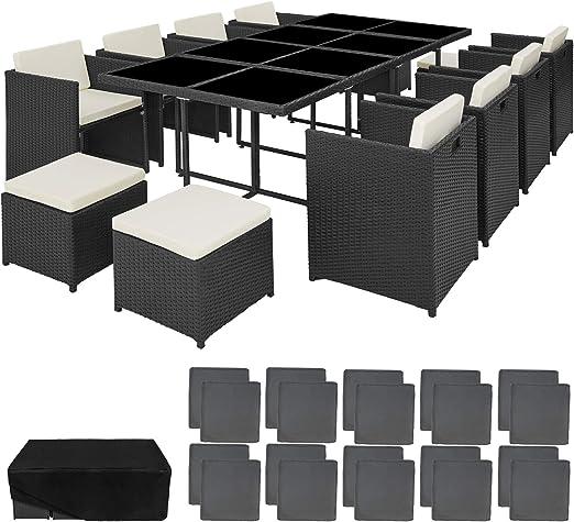 TecTake 800674 Conjunto Muebles de Jardín en Aluminio y Ratán Sintético, para 12 Personas, 1 Mesa + 8 Sillones + 4 Taburetes, Funda Protectora (Negro | no. 403089): Amazon.es: Jardín