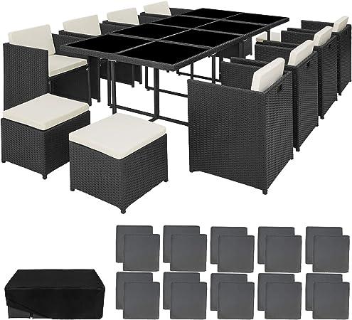 tectake 800674 Salon de Jardin Résine Tressée et Aluminium 12 Personnes,  encastrable, Fauteuils et Tabourets, Table avec Plateau en Verre, Coussins  ...