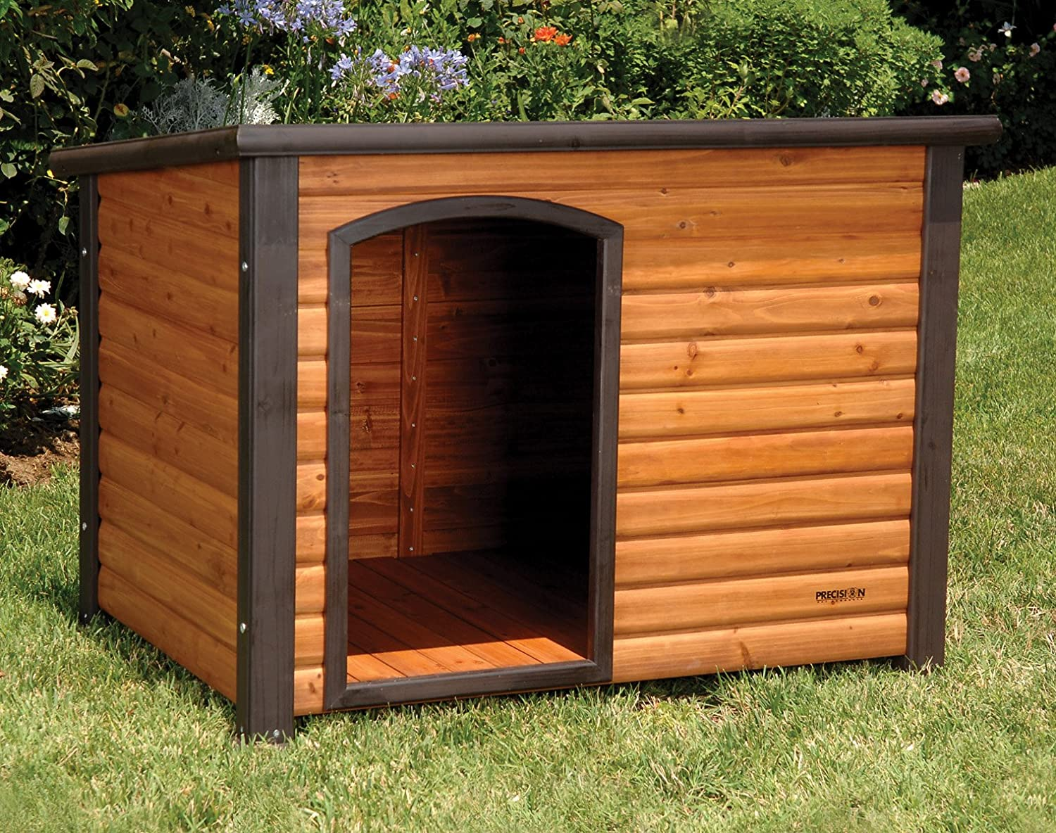 amazoncom precision pet extreme log cabin large dog houses pet supplies