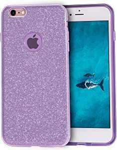 MATEPROX iPhone 6s Case iPhone 6 Case Glitter Slim Bling Crystal Clear 3 Layer Hybrid Protective Case for iPhone 6s/6 4.7 inch (Purple)
