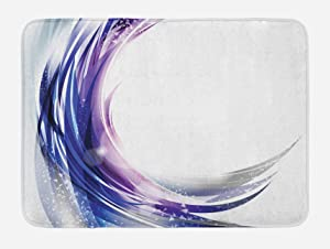 """Ambesonne Abstract Bath Mat, Cool Wave Like Ombre Design with Vibrant Color Dots Artwork, Plush Bathroom Decor Mat with Non Slip Backing, 29.5"""" X 17.5"""", Purple Blue"""