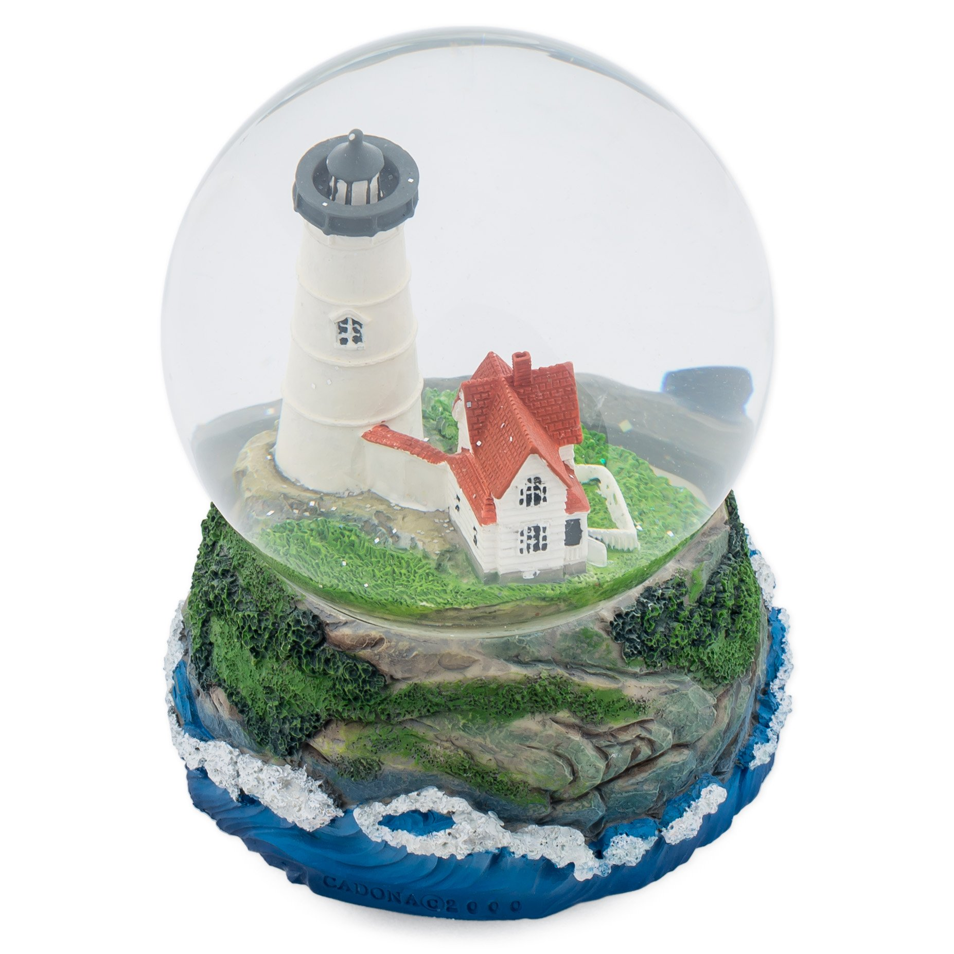 Cape Cod Lighthouse Cottage 100MM Music Water Globe Plays Tune Dock of the Bay by Cadona International, Inc (Image #3)
