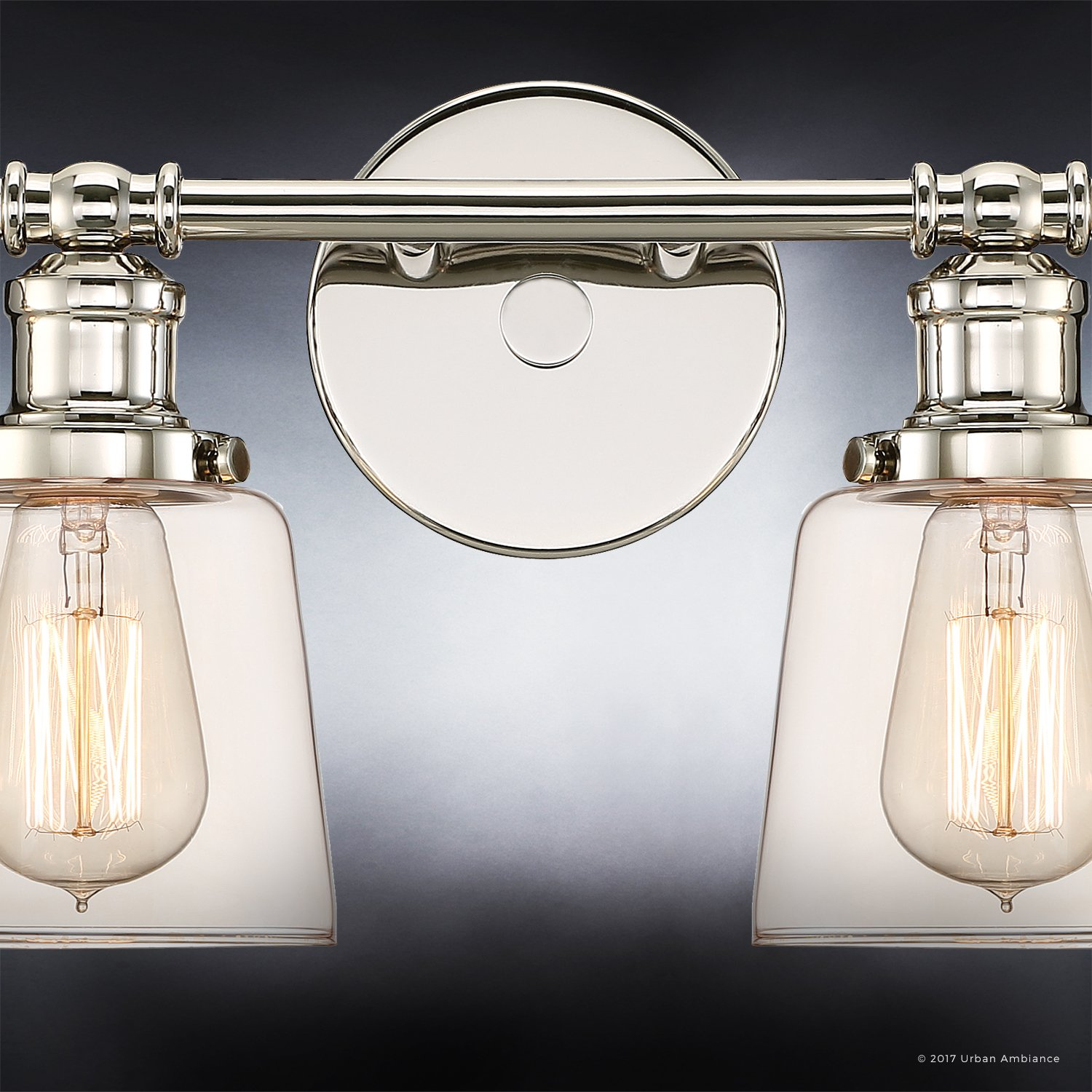 Luxury Industrial Chic Bathroom Vanity Light, Large Size: 9''H x 31.5''W, with Modern Style Elements, Nostalgic Design, Polished Nickel Finish and Light Champagne Glass, UQL2682 by Urban Ambiance by Urban Ambiance (Image #6)