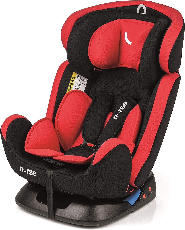 Nurse 7001 488 Driver 2 - Silla de Coche Grupo 0 1 2 3, desde Recién Nacido hasta los 36 kg., Instalación con el Cinturón del Automóvil, Máxima Reclinación, Incluye Reductor, Color Rojo
