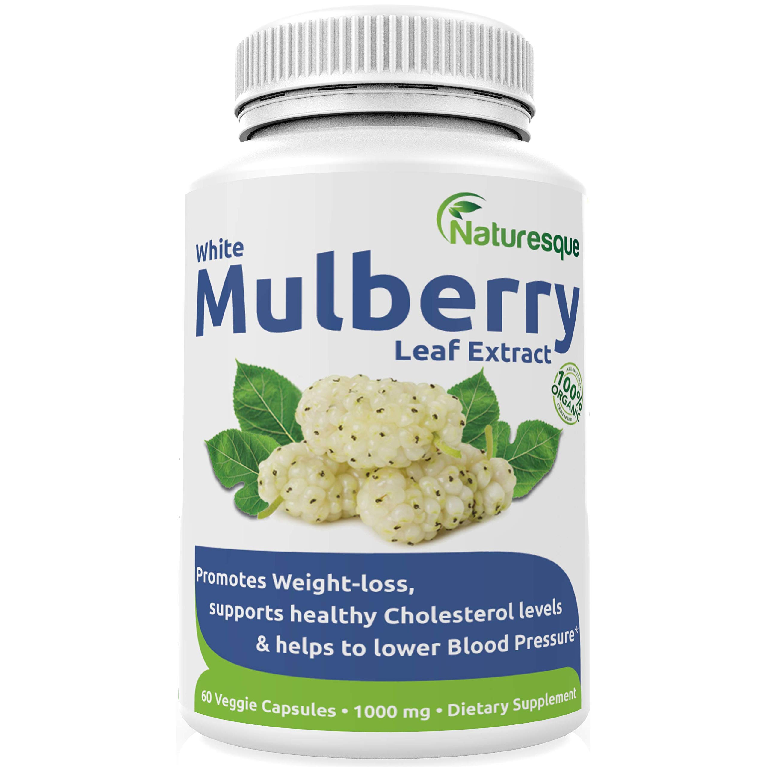Naturesque White Mulberry Leaf Extract | Controls Appetite, Curbs Sugar & Carb Cravings | Helps Lower Blood Sugar Levels | Perfect for Zuccarin Diet Weight Loss | 1000mg 60 Vegan Capsules by Naturesque