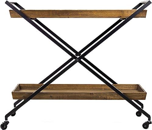 American Art Decor Rustic Wood Metal Bar Cart Table Tray Storage Shelves on Wheels – Farmhouse Furniture