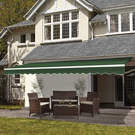 release date: be698 ef840 Waltons 3 x 2.5m DIY Manual Patio Awning, Retractable Gazebo Outdoor  Canopy, Garden Sun Shade with Fittings and Winder Crank Handle (Green)
