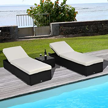 Amazon.com: Festnight Set of 2 Outdoor Patio Wicker Chaise ...