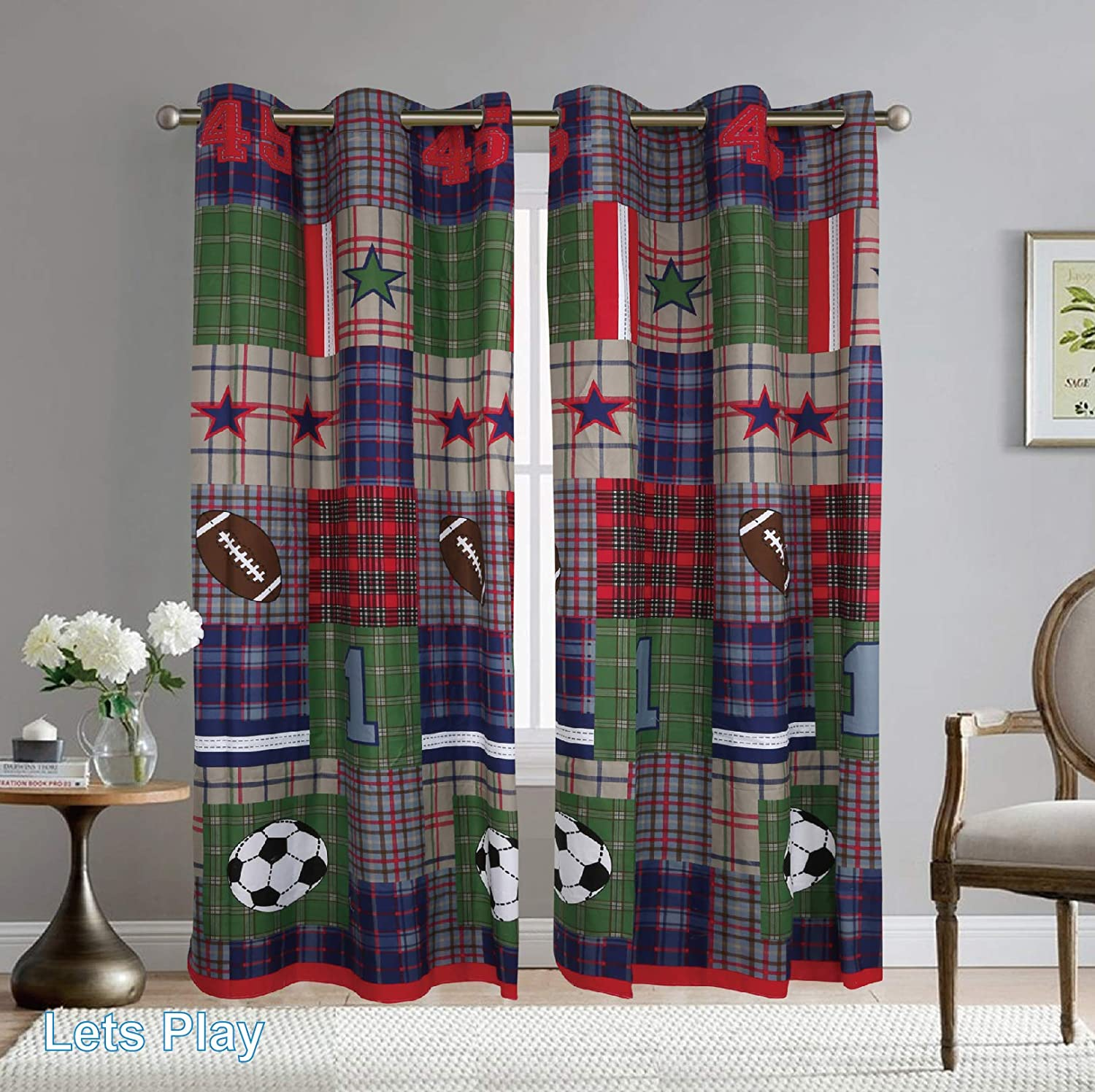 Full Super Star Quilt Sports Soccer Basketball Football Baseball Coverlet for Boys Sapphire Home 6pc Kids Teens Full Bedspread Quilt Set with Matching Curtains Panels 84 Length Gray Blue