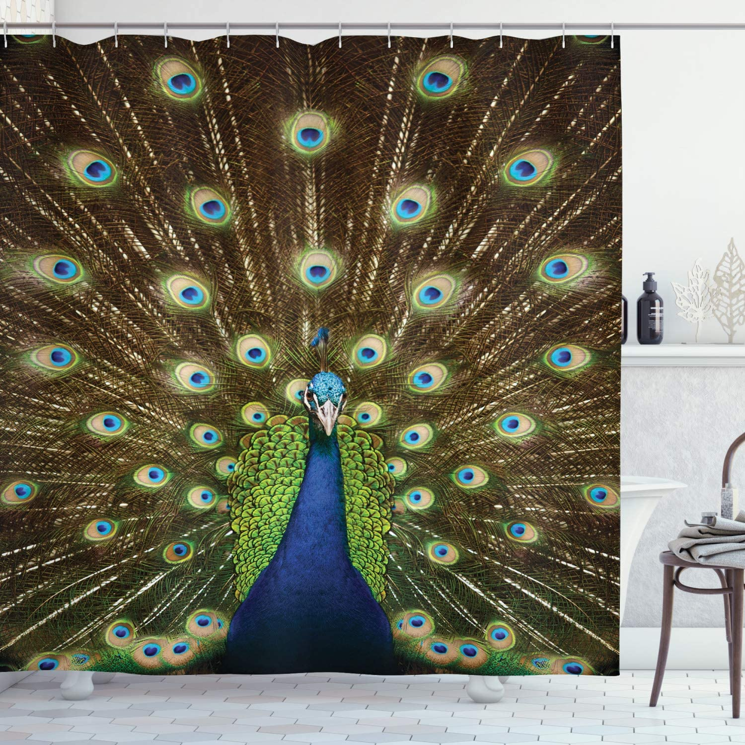 "Ambesonne Peacock Shower Curtain, Portrait of Peacock with Feathers Out Vibrant Colors Birds Summer Garden, Cloth Fabric Bathroom Decor Set with Hooks, 70"" Long, Navy Green"