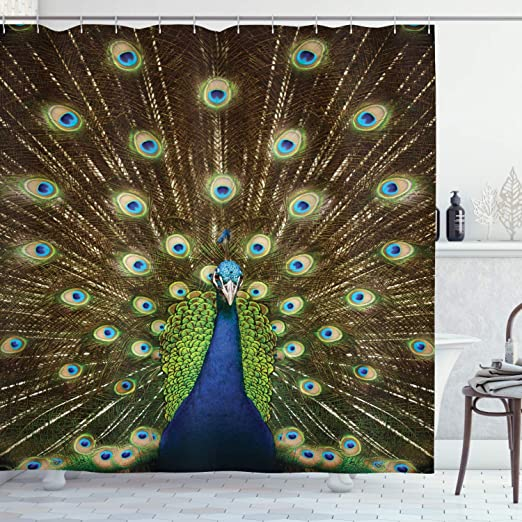 """Peacock Displaying Feathers Shower Curtain Liner Waterproof Fabric Hooks 72X72/"""""""