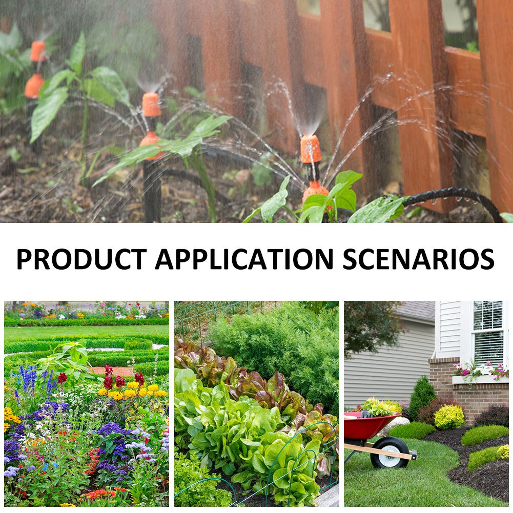 Zerodis Micro Drip Irrigation Kit,Patio Garden Self Watering System Irrigation Timer,Water Tubing,Adjustable Drippers/Fixed Stem,T Fitting Joint,Faucet Connector Adapter