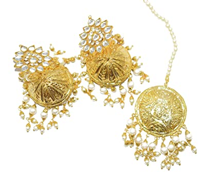 48ac52cd1f Patiala Traditional Jewellery Kundan Gold Plated Pearl Maang Tikka with  Jhumka for Women Fashion (White): Amazon.in: Jewellery