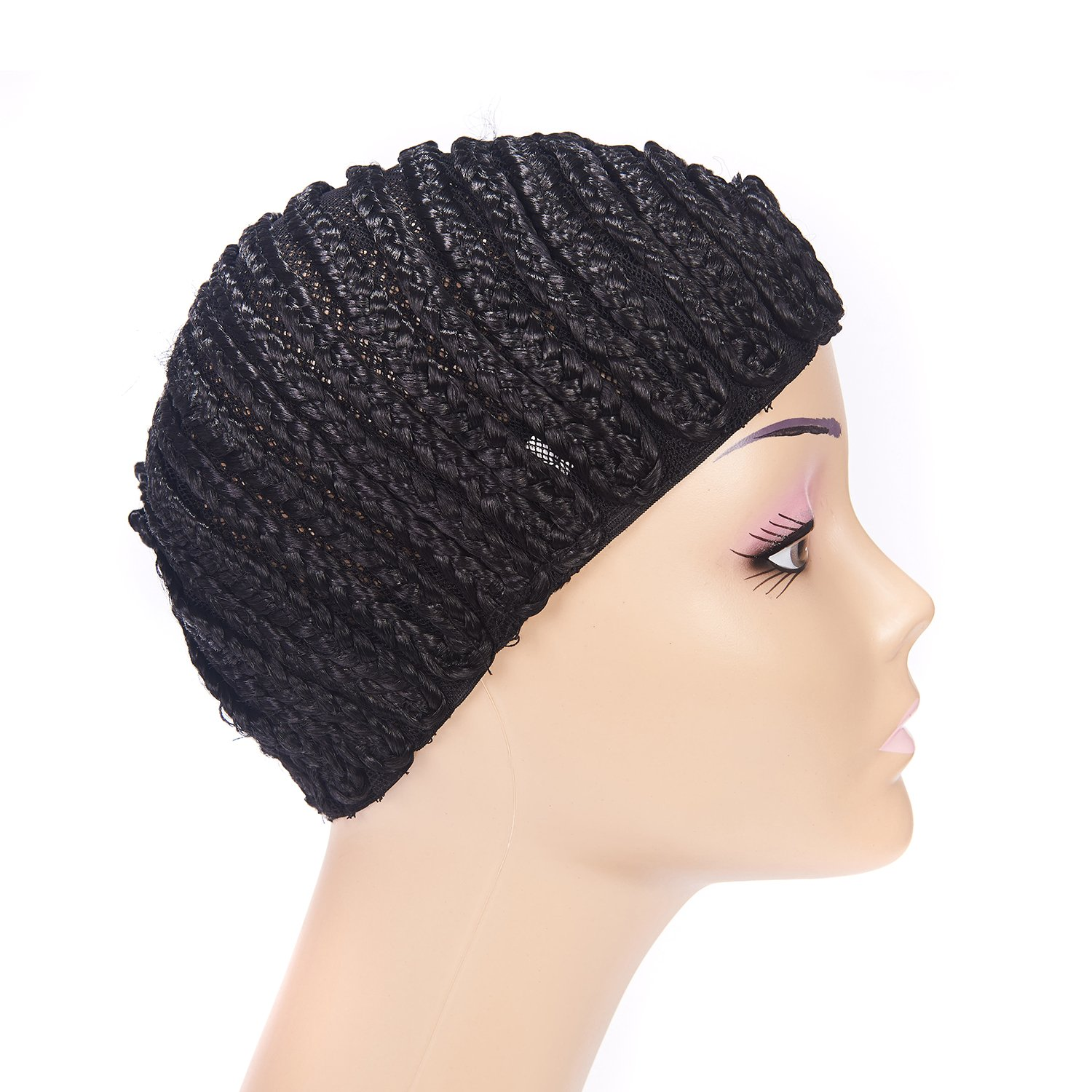 Clip in Braided Wig Caps Crochet Cornrow Cap For Easier Sew In Cap for Making Wigs Adjustable Crochet Wig Cap with 1 Free Hook Needle (L) by XFX Hair (Image #2)