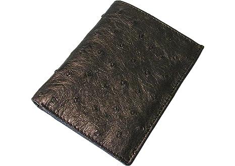 eaf4123b9a Portafogli da uomo in vera pelle di struzzo - 13 x 10,5 cm - black ...