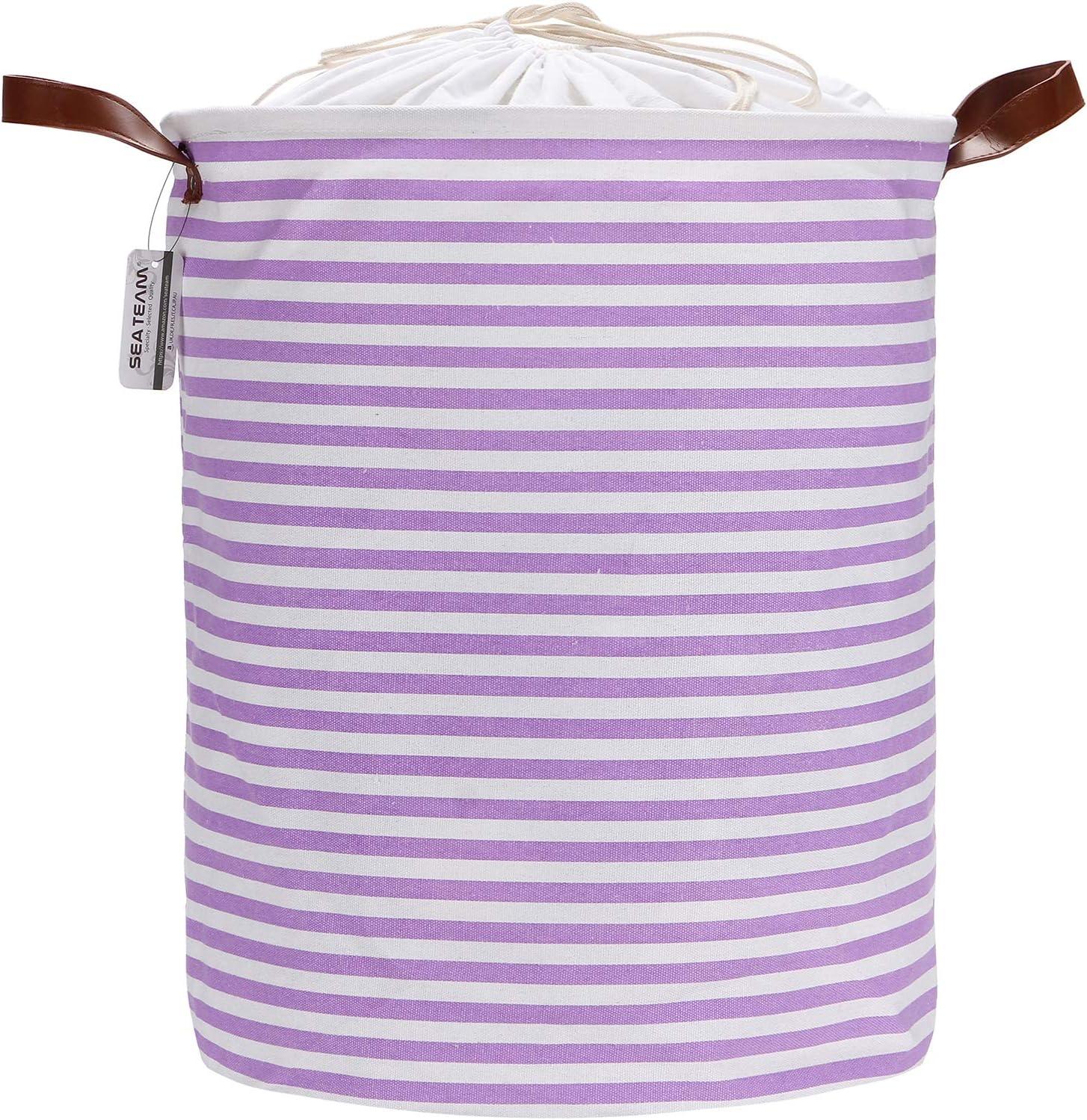 Sea Team 19.7 Inches Large Sized Waterproof Coating Ramie Cotton Fabric Folding Laundry Hamper Bucket Cylindric Burlap Canvas Storage Basket with Stylish Purple & White Stripe Design