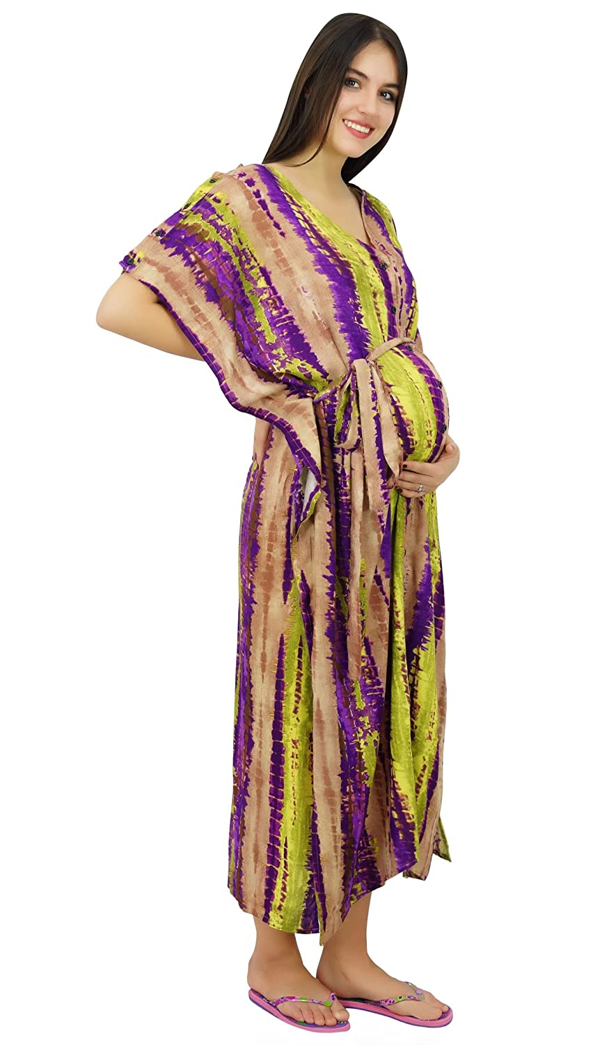 Bimba Maternity Nursing Mothers Kaftan Gown, Front & Side Buttons Caftan Maxi With Belt