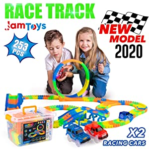 Glow Race Track for Boys and Girls - 253-Piece Glowing in The Dark Set with 2 Light Up Slot Cars, Case - Building STEM Construction Flexible Toy - Great Gift for 3,4,5,6,7 Year Old Toddlers & Kids
