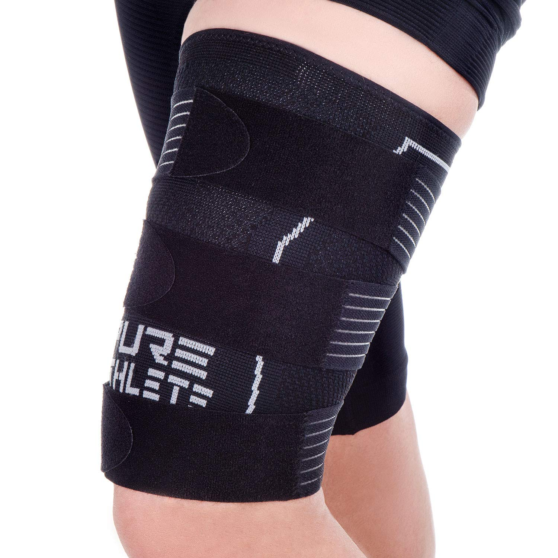 Thigh Compression Sleeve - Adjustable Straps Quad Wrap Support Brace, Hamstring Upper Leg (1 Sleeve - Black, Medium) by Pure Athlete