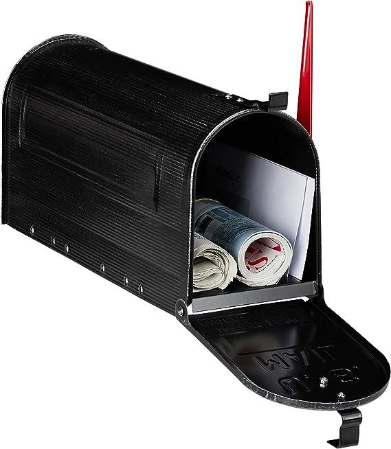 Relaxdays Buzón Americano Grande Vintage Original, Bandera Roja, US Mailbox Exterior, Acero, 1 Ud, 25x19x52,5 cm, Negro, 25 x 19 x 52.5 cm: Amazon.es: Hogar