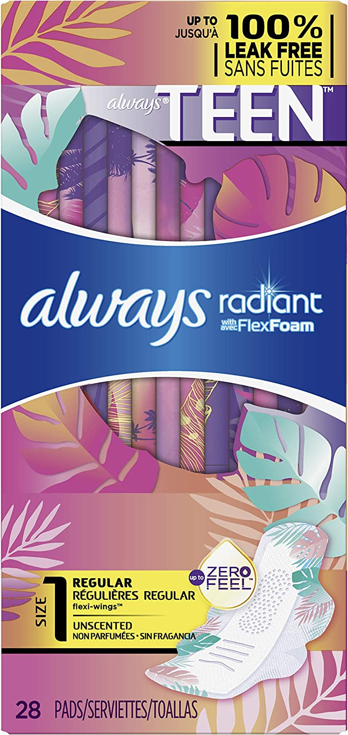 Always Totally Teen Radiant Infinity Pads 28 Count: Health & Personal Care